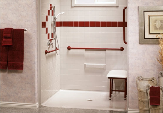 Barrier Free Shower, Roll-In Shower, Aging-In-Place Remodeling
