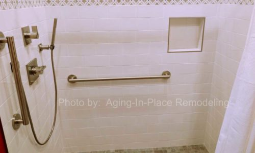Grab Bars and Hand Held Showerhead allow for safer bathing.