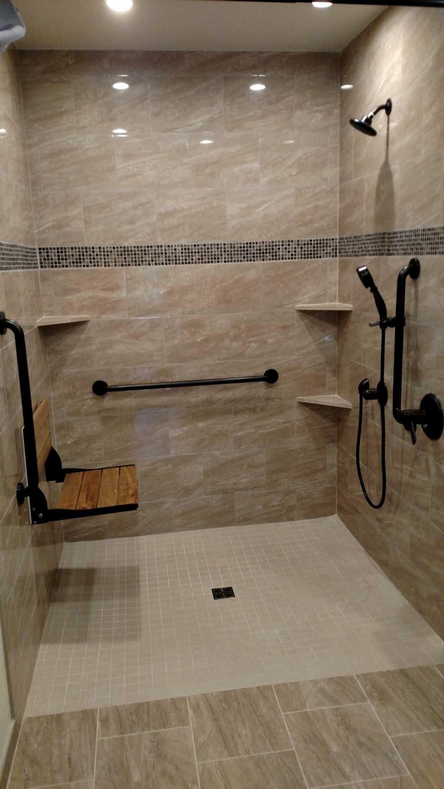 Shower Tile.Roll In Shower